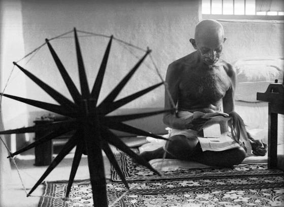 "Caption from LIFE. ""At 76, the Mahatma is in good physical condition. He weighs 110 pounds, but he is not so frail as he looks."""